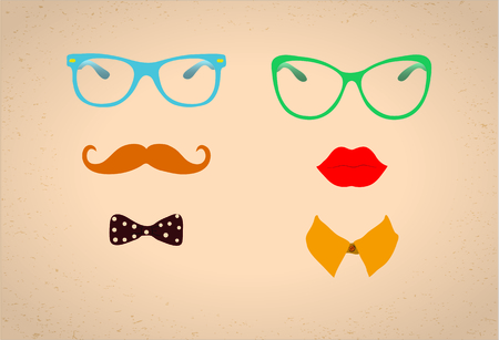 curled lip: Hipster Lady and Gentleman Vector Icohs, Illustration Illustration