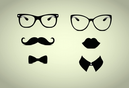 Hipster Lady and Gentleman Vector Icohs, Illustration Illustration