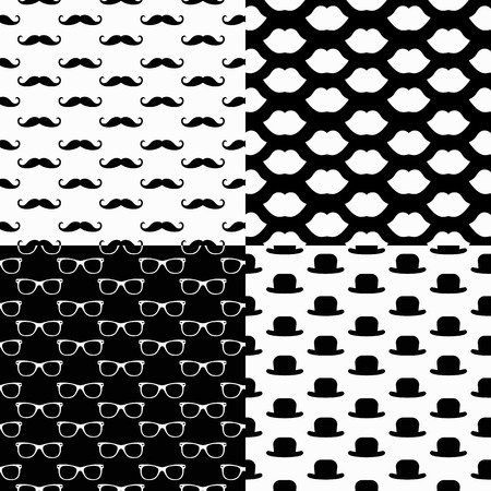 curled lip: Vector Hipster Seamless Pattern Set, lips, glasses, mustaches, hats