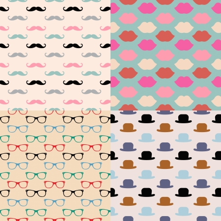 Vector Hipster Seamless Pattern Set, lips, glasses, mustaches, hats Vector