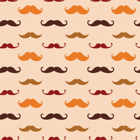 Vector Hipster Mustache Seamless Pattern Illustration