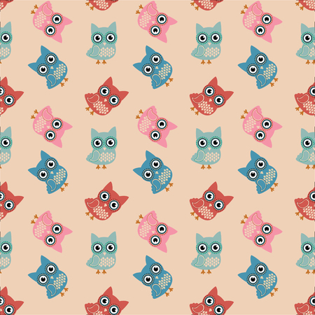 Vector Owl Colorful Seamless Pattern, Background