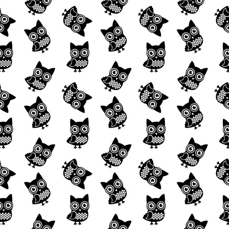 Vector Owl Black and White Seamless Pattern, Background