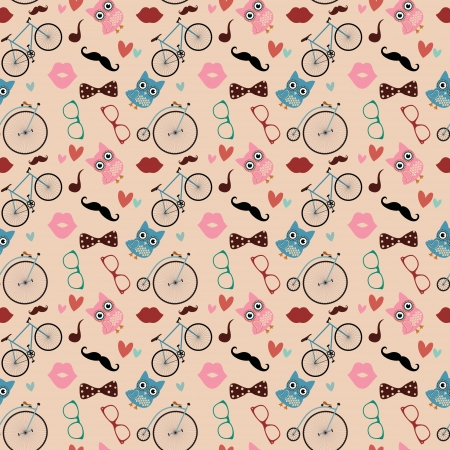 pattern: Vector Hipster Doodles Colorful Seamless Pattern, Background