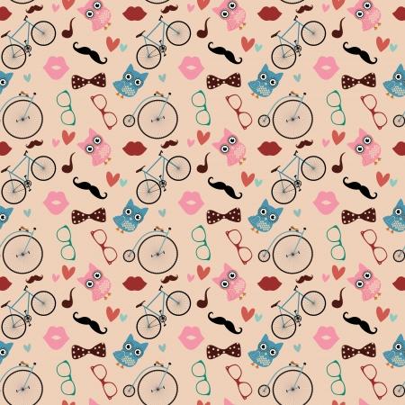 pattern: Vector Hipster Doodles Kleurrijke naadloze patroon, Achtergrond