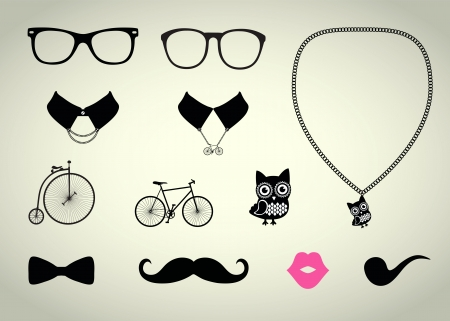 kiss lips: Hipster Accessory Vector Set, Bicycle, Collar, Chain Illustration