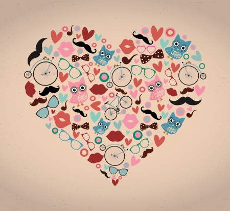 Vector Hipster Doodles Set in Heart Shape Vector