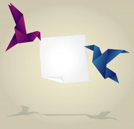 Origami Birds Holding Empty Paper Banner Vector Vector