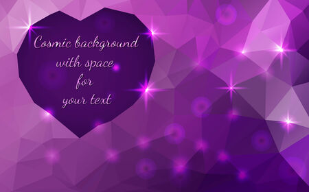 heart diamond: Vector abstract polygonal cosmic background, Heart shape space for text Illustration