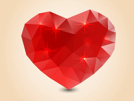 Origami polygonal heart  Vector Illustration  Vector