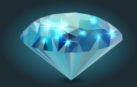 precious stone: Vector Polygonal Diamond Illustration, isolated