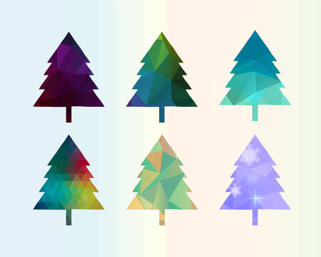 Colorful Diamonds Christmas Tree Set illustration Vector