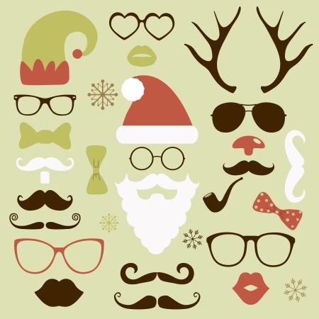 Kerst silhouet set hipster stijl, illustratie iconen