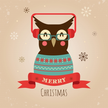 christmas music: Vector Illustration of Hipster Owl, Merry Christmas Card