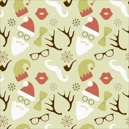 Vector Christmas Hipster Vintage Seamless Pattern, Background Vector