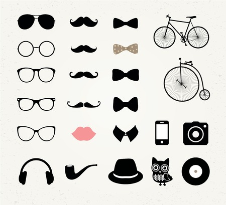 Hipster Retro Vintage Vector Icon Set Vector