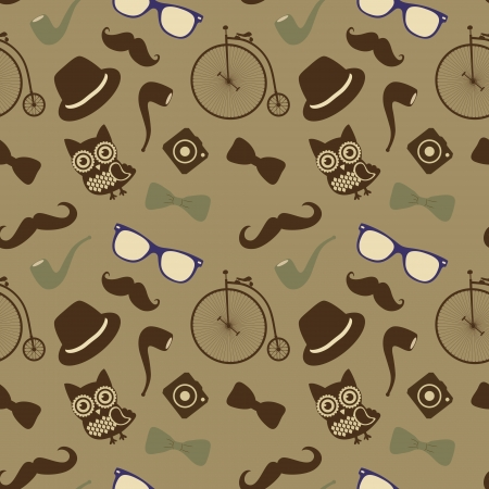 Vector Hipster Retro Vintage Seamless Pattern, Background Vector