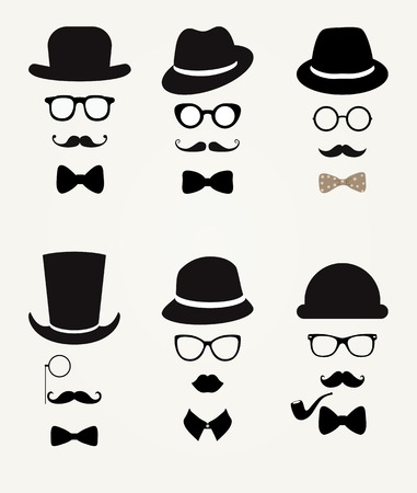 gentleman: Hipster Retro Vintage Vector Icon Set