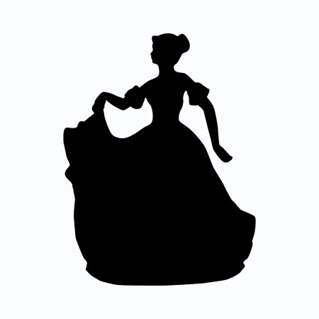 victorian girl: Vintage victorian lady vector silhouette Illustration