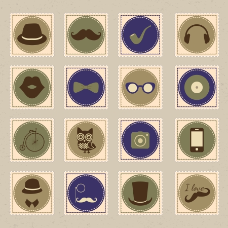 Hipster vintage stamp icon set, vector illustration Vector