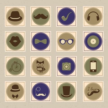 tobacco pipe: Hipster vintage stamp icon set, vector illustration