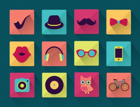 Vector Flat Long Shadowed Hipster icons Vector