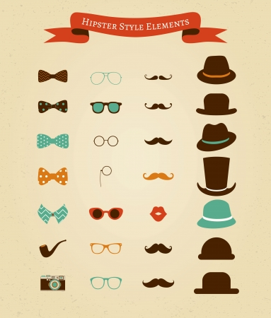 Hipster Colorful Retro Vintage Vector Icon Set Vector