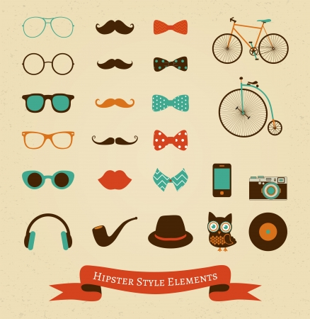 smoking pipe: Hipster Colorful Retro Vintage Vector Icon Set