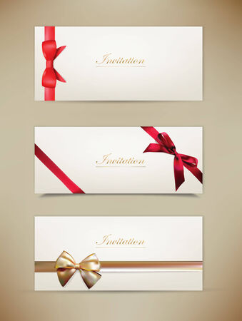 Gift cards and invitations with ribbons. Vector background