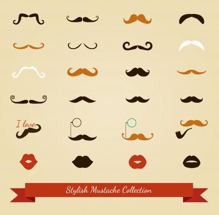 bigote: Colorful Bigote y labios Icon Set. Ilustraci�n vectorial
