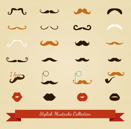 curled lip: Colorful Moustache and Lips Icon Set. Vector Illustration
