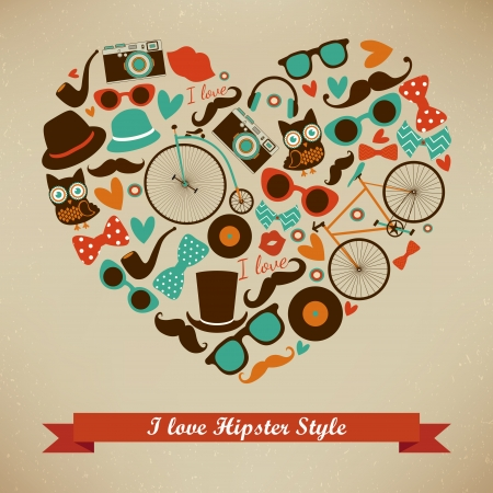 I Love Hipster Style Icon Set. Vector Illustration Vector
