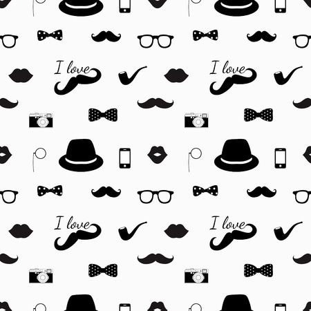 Vector Hipster Black and White Seamless Pattern, Background Illustration