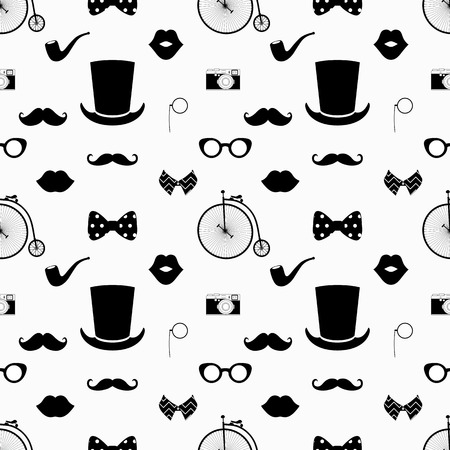 Vector Hipster Black and White Seamless Pattern, Background  イラスト・ベクター素材