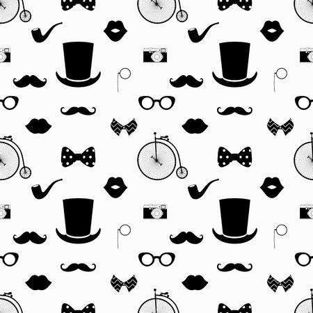流行に敏感な黒と白のシームレスなパターン ベクトル、背景
