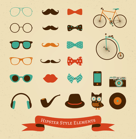 Hipster Colorful Retro Vintage Icon Set photo
