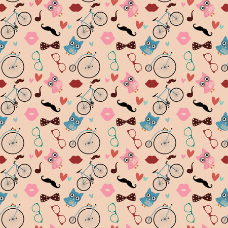 pastel shades: Hipster Doodles Colorful Seamless Pattern, Background Stock Photo