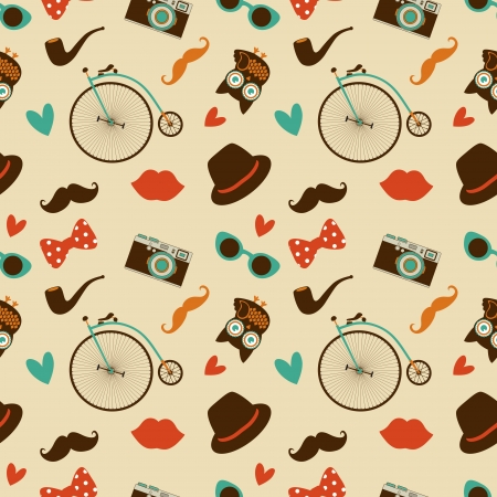 Hipster Doodles Colorful Seamless Pattern, Background Stock Photo