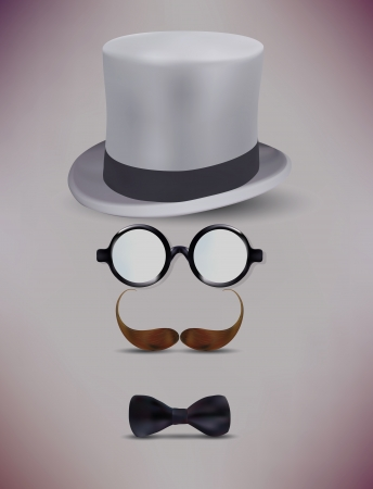 Fake Retro Gentleman, Glasses, Moustache Vector Illustration Vector