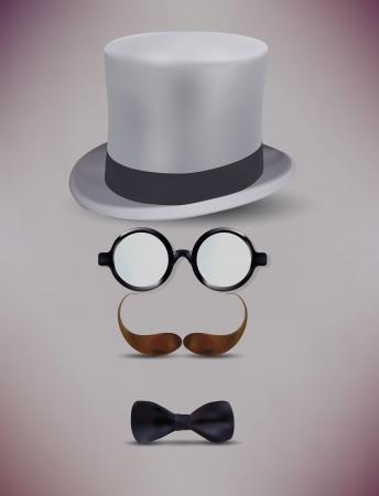black head and moustache: Fake Retro Gentleman, Glasses, Moustache Vector Illustration