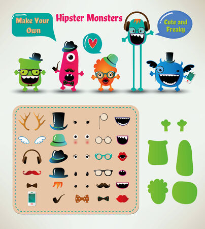 Vector Freaky Hipster Monsters Set, Funny Illustration Vector