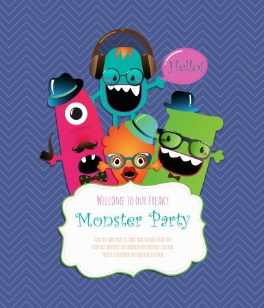 Monster Party Invitation Card Design. Vector Illustration  イラスト・ベクター素材