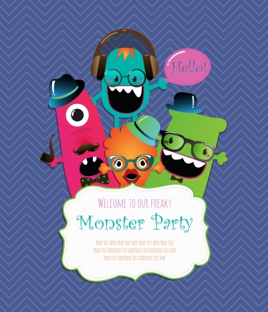 Monster Party Invitation Card Design. Vector Illustration 向量圖像