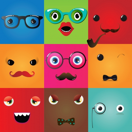 Set of funny hipster monster eyes, Vector Illustration Vector