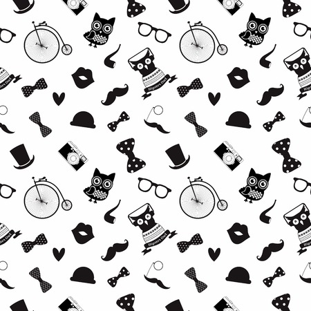 robbon: Vector Hipster Black and White Seamless Pattern, Background Illustration