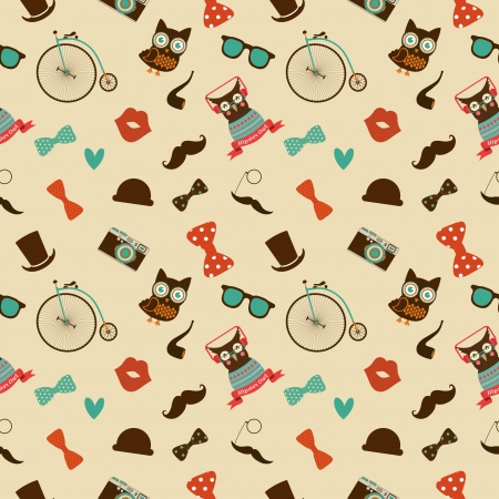 Vector Hipster Doodles Colorful Seamless Pattern, Background Vector