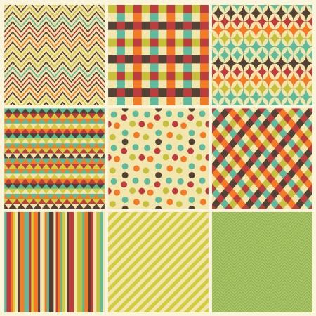 checkered pattern: Seamless geometric hipster set.