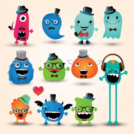 Freaky Hipster Monsters Set, Funny Illustration Vector