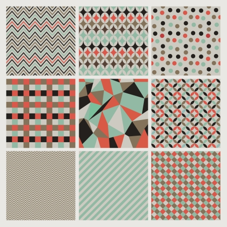 Seamless geometric hipster  patterns set.  Vector