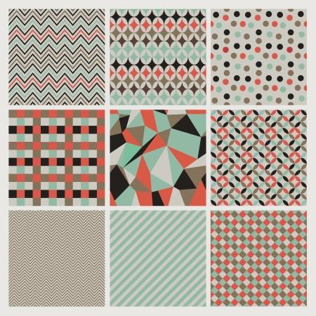 Seamless geometric hipster  patterns set.  Illustration